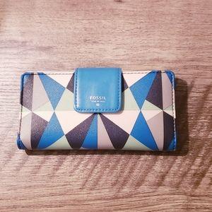 Fossil sydney tab blue clutch wallet geometric